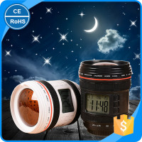 Digital Alarm Clock wIth Projection Calendar Lens Projection Clock Hypnotic Music Stars SLR Camera Lens Cup Projection Clock