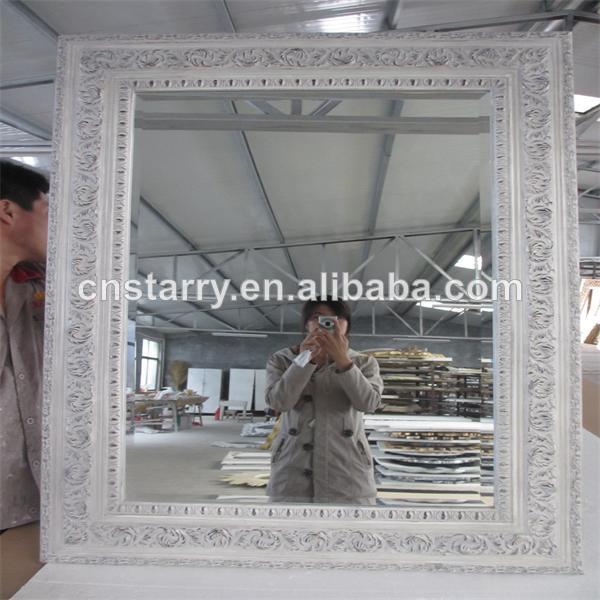 Paulownia mat riau blanc rectangle en bois sculpt cadre for Miroir cadre bois blanc