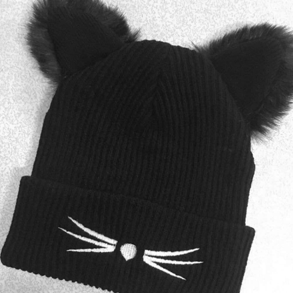 Women Winter Harajuku Woolen Knitting Beanie Devil Horns Cat Ear Crochet Braided Knitted Fur Cap Noverlty Girls Hat