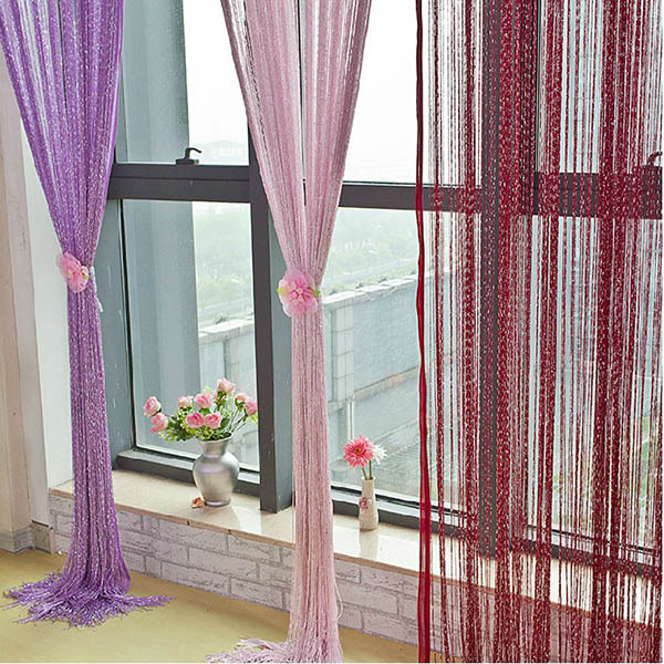 NUOVO Stile 1 PZ Fringe String Curtain Panel Window Room Divider Nappa 12 colori