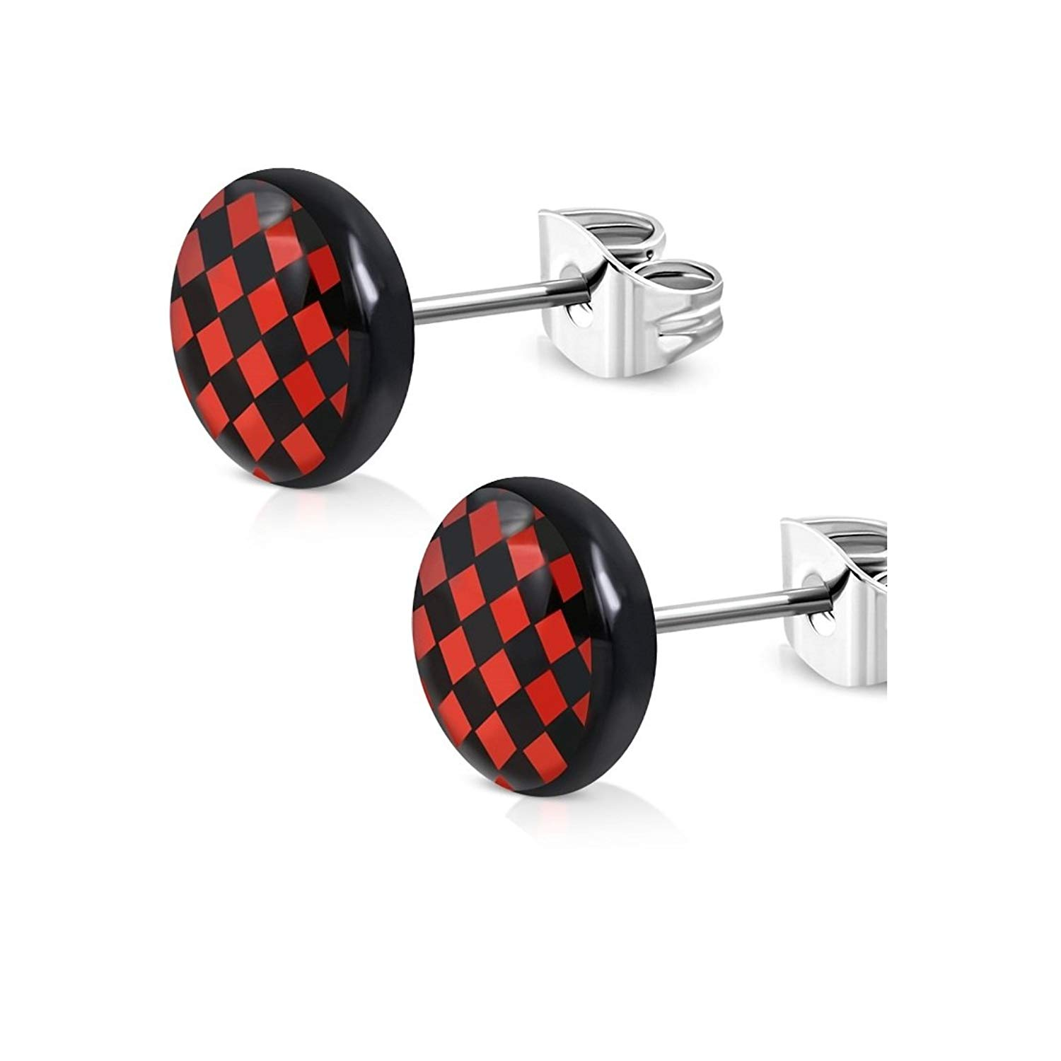 Stainless Steel 3 Color Checker Circle Stud Earrings pair