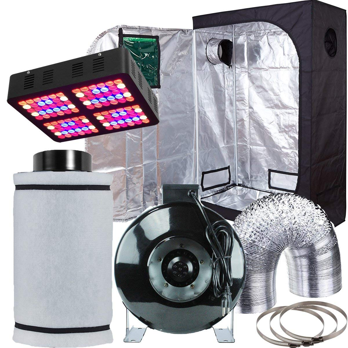 "Hydro Plus Grow Tent Complete Package Kit LED 600W Grow Light + 6"" Fan Filter Ventilation Kit + 48""x24""x72"" w/Observation Window Dark Room Hydroponic Indoor Plants Growing System (48""x24""x72"" Kit2)"