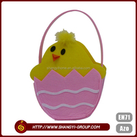 Hot selling cute chick polyester felt Easter bags gift