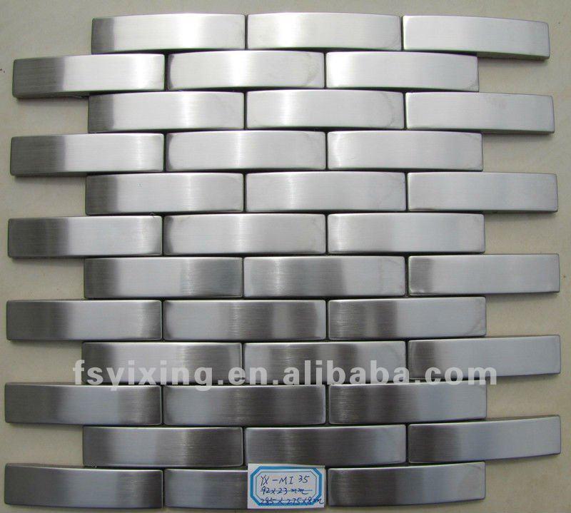Argento spazzolato mattoni in acciaio inox adesivo for Mosaico adesivo per cucina