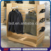 TSD-W1287 customized freestanding wooden slatwall display unit/slatwall shoe shelf/clothes hanging stand