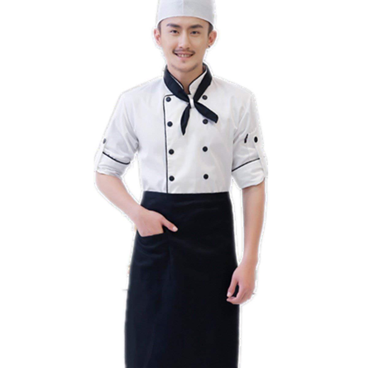 XINFU Chef Men's Unisex Executive Coat Long Sleeve with Black Piping Autumn Winter Hotel Restaurant Hotpoot Coat