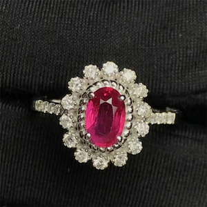 factory wholesale classic luxury natural red ruby ring 18k gold diamond gemstone jewelry for women wedding engagement