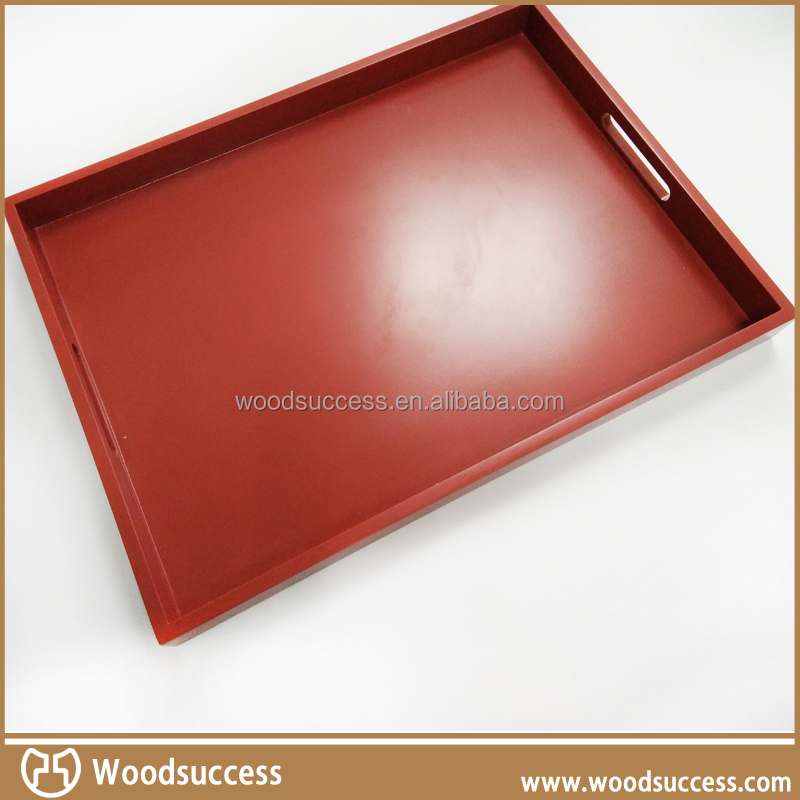 Practical Rectangle lacquered MDF wood trays for big restaurant