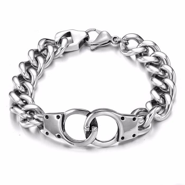 Longqueen 2016 latest fashion mens stainless steel silver hand bracelet for teen boys