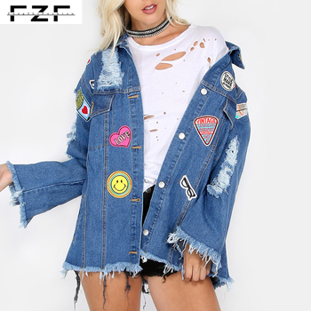 Bf Style Patched Jean Distressed Denim Jacket For Women Buy Denim