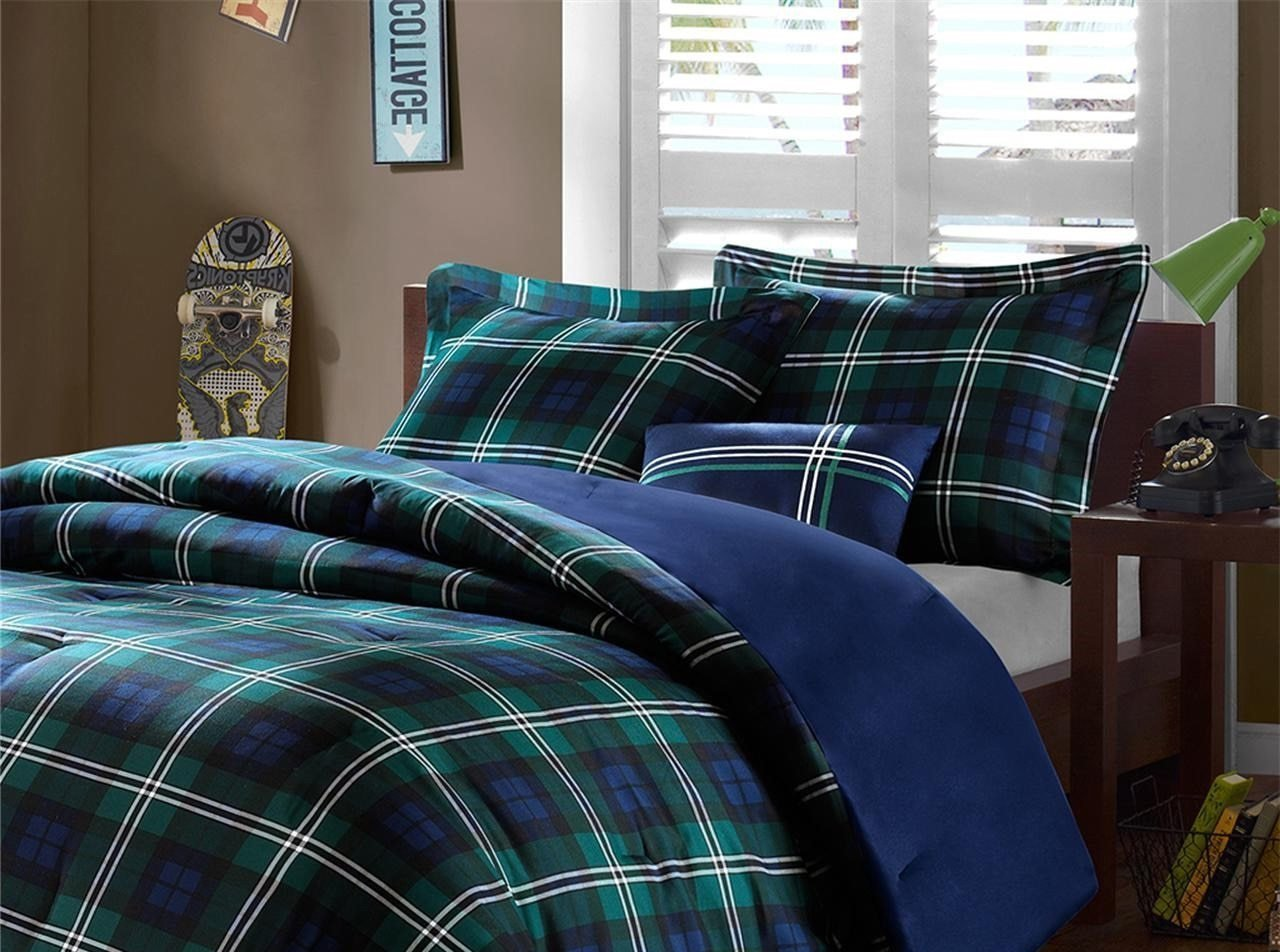 4 Piece Boys Navy Blue Green Madras Glen Plaid Theme Comforter Full Queen Set, Stylish All Over Tartan Check Plaided Bedding, Horizontal Vertical Stripe Lodge Cabin Themed Pattern