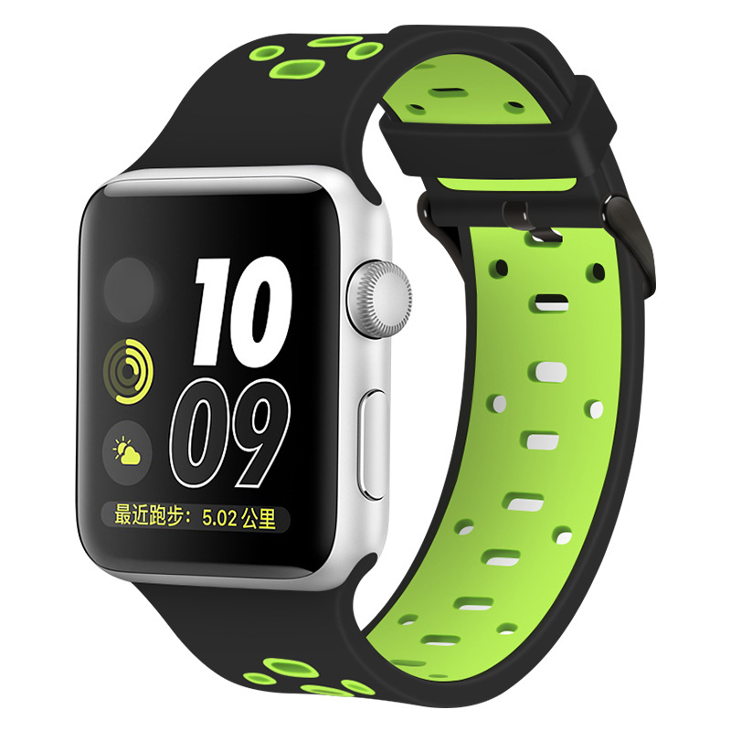 New style double color sport rubber silicone watch band for apple watch band 42mm 38mm
