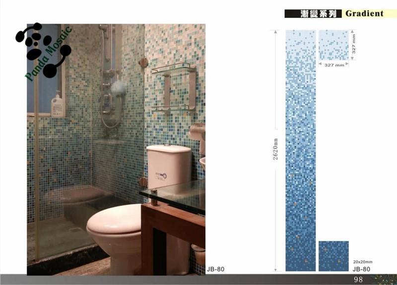 Mb Chinese Mosaic Design Random Pattern Mosaic Tile Blue Glass Mosaic Premium Bathroom Tile