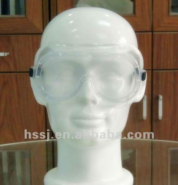 2016 hot selling green PVC security safety goggles for hospital CE EN 166 standard surgical safety goggles with price (2A01)