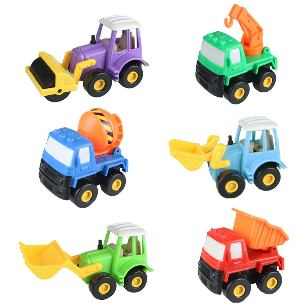 Fajiabao Push Pull Back Truck Car Toy Set Mini Construction Team Mixer Tractor Dumpers Pull N Go Truck Model Toys for Boys Girls Kids 6 Pcs(Color Vary)