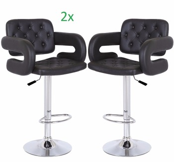 Modern swivel black leather dining chair bar stool with armrest
