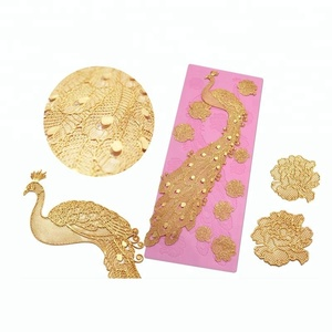 3D peacock Silicone Lace Mat for for edible lace cake decorating