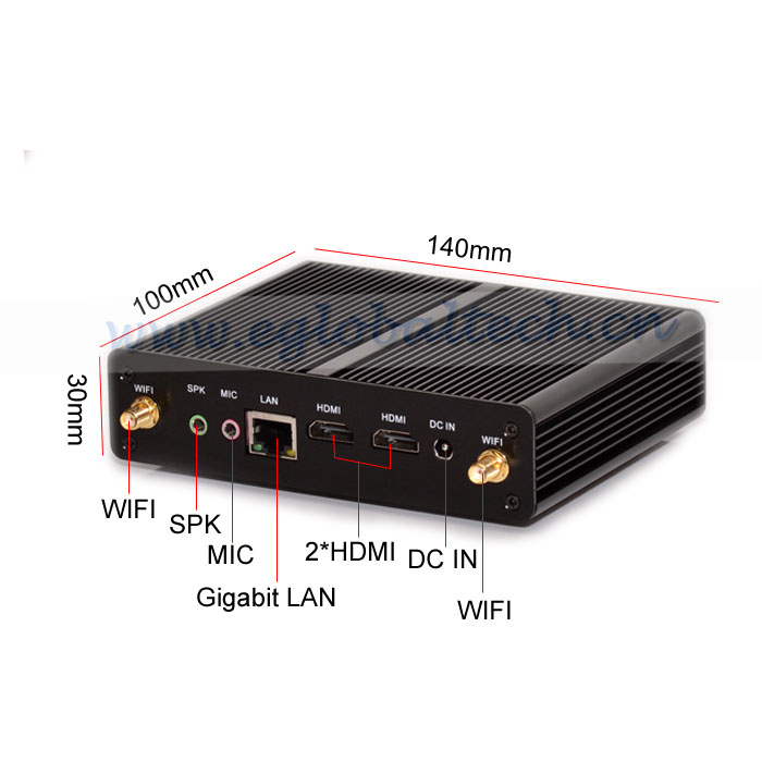 Cheapest Smallest Fanless mini PC Linux 2*HD.MI Intel Celeron N2810 2GHz 2 Core 2 Thread with 4G Ram 32G SSD <strong>12V</strong> smart <strong>TV</strong> BOX