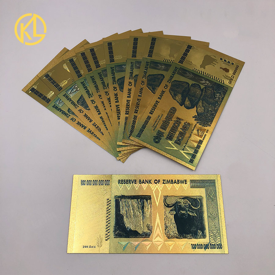 New Banknotes 2018 Foreign Colorful Zimbabwe 100 Trillion Quintillion Dollar Bill Gold Goil Money For Collection Gifts