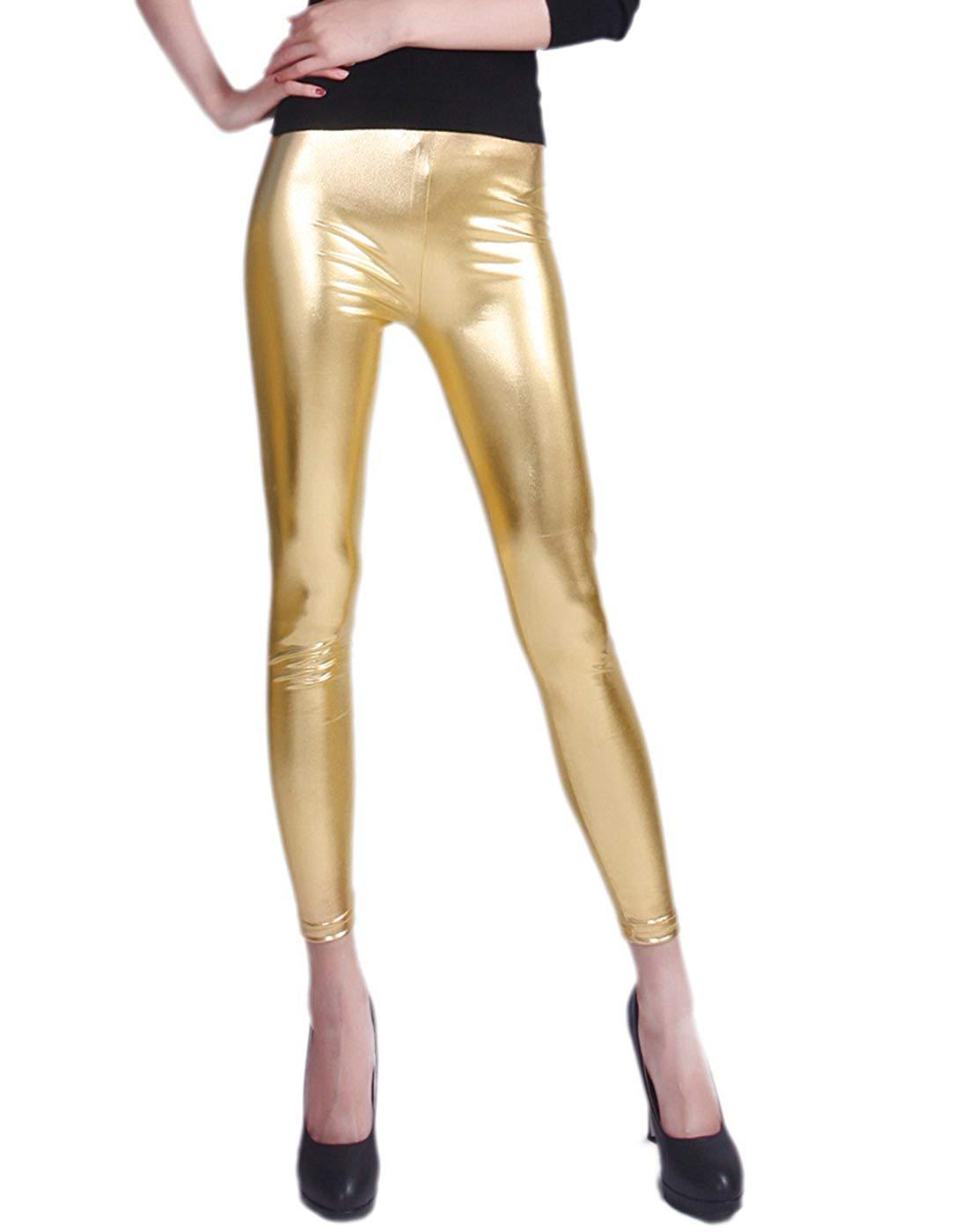 bdfea3aeb HDE Women's Plus Size Clubwear Shiny Metallic Leggings Liquid Wet Look Pants