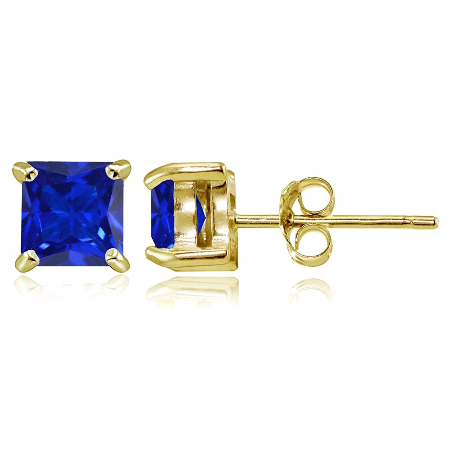 Yellow Gold Flashed Sterling Silver Simulated Gemstone 5mm Princess-cut Stud Earrings