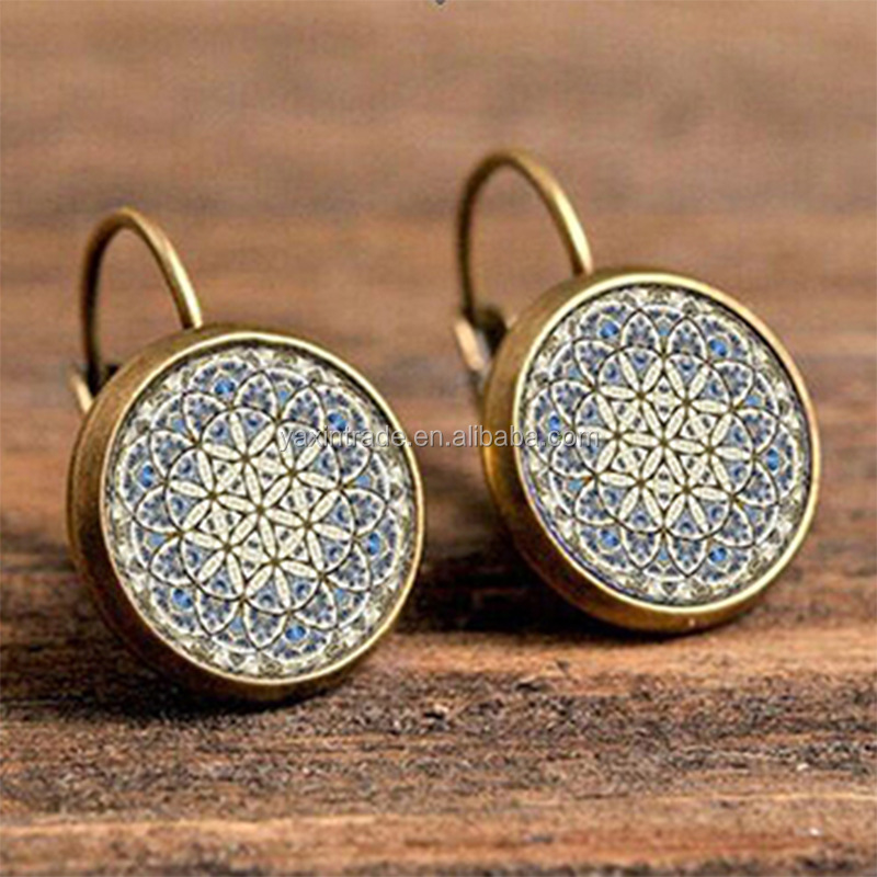 New Hot Sale handmade Jewelry High Quality Bohemian Round Shaped Floral glass <strong>Earrings</strong> cheap Wholesale