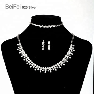 99f88f091 China wedding jewelry fashion 925 sterling silver jewelry sets wholesale  for crystal
