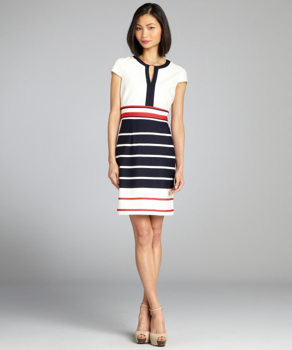 Red White And Blue Striped Cap Sleeve Stretch Knit Dress ff460072085c