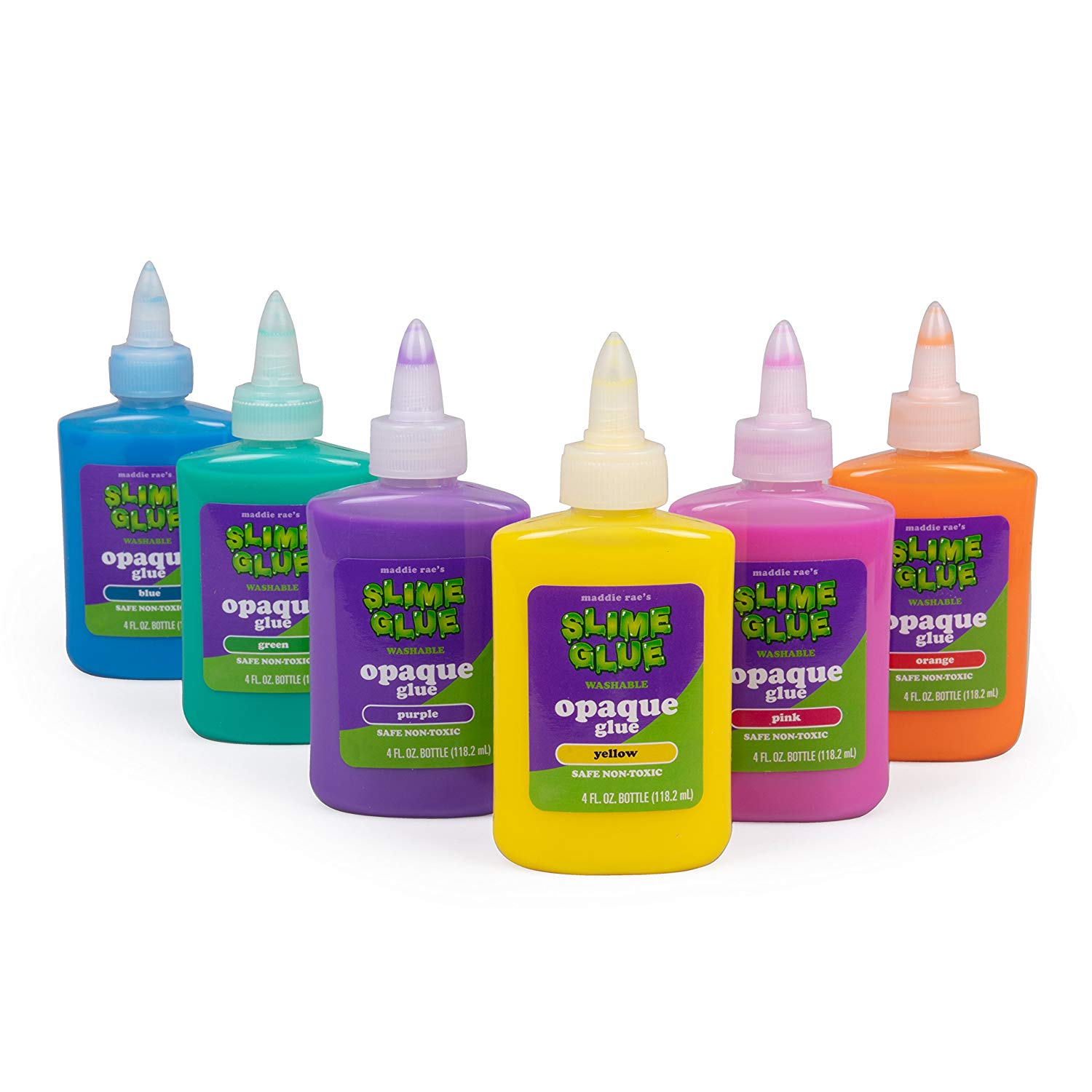 Maddie Rae's Slime Making Opaque Glue - (6) 4oz Bottles, 6 Different Colors - Non Toxic, School Grade Formula for Perfect Slime Crafts