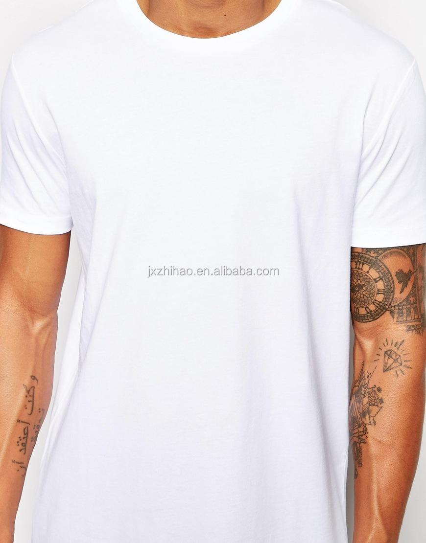 Custom bulk long line white blank men 39 s plain t shirts for White t shirt bulk buy