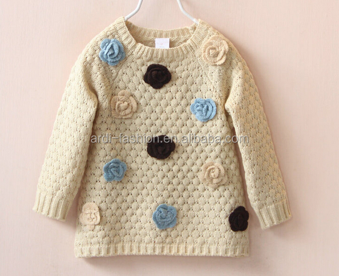 flowers waffle-knit raglan wool knit children winter jumpers baby girls clothing