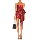 Lady bow party dress metal texture strapless mini women club sexy red dress