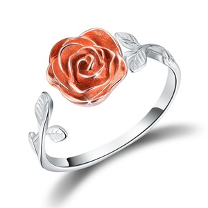 Amazon Hot Selling 18k white rose gold plated 925 Sterling Silver Jewelry flower Ring