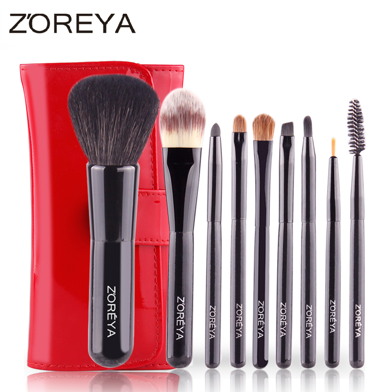 superior animal hair shiny black handle 10pcs makeup brush set