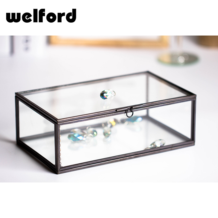 High quality new arrival clear crystal glass jewelry storage box