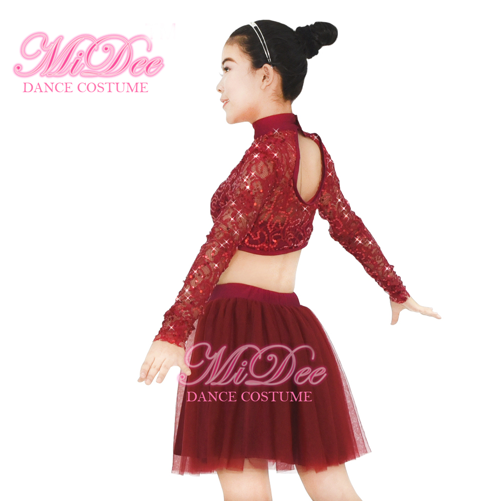 169dcec8099d Midee Dance Costume Sequined Lace Long Sleeves Dance Dress 2 Pieces ...