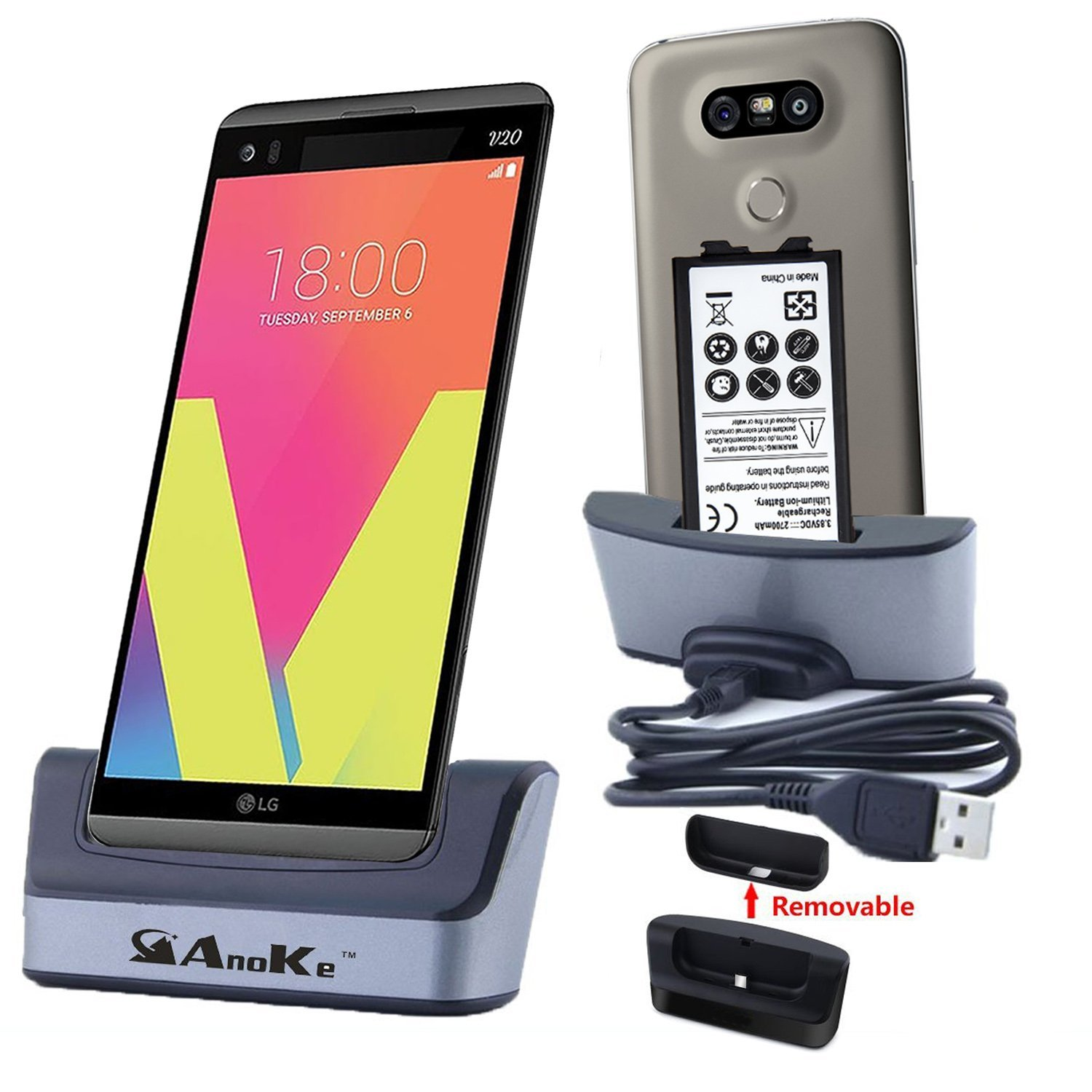 LG V20 Charger, AnoKe [Support Spare Battery Charging] Replacement Desktop Charging Docking Station Cradle Stand Holder With USB Cable for LG V20 Cell Phone Charger Dock