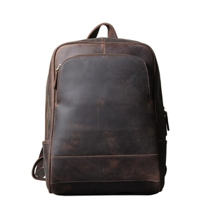 Dreamtop DTA432 coffee brown college school laptop backpack crazy horse leather travel bag luxury backpacks men