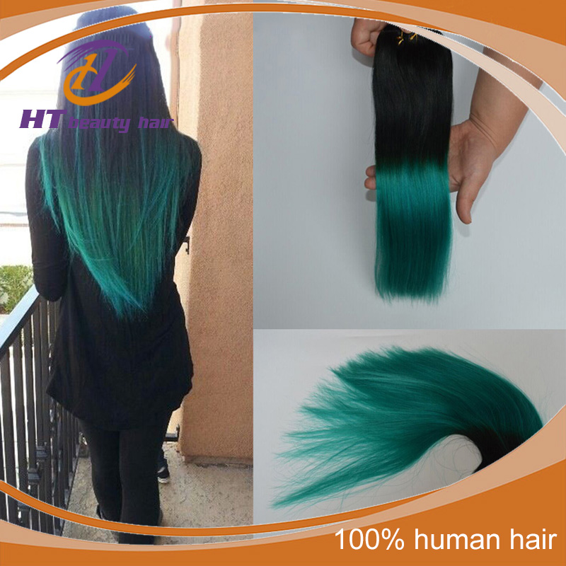 Colorful 1bemerald Ombre Hair Extensions3 Bundles Dip Dye Green