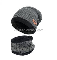 Warm Knitted Winter Beanie Hat Men with Circle Scarf for Ski