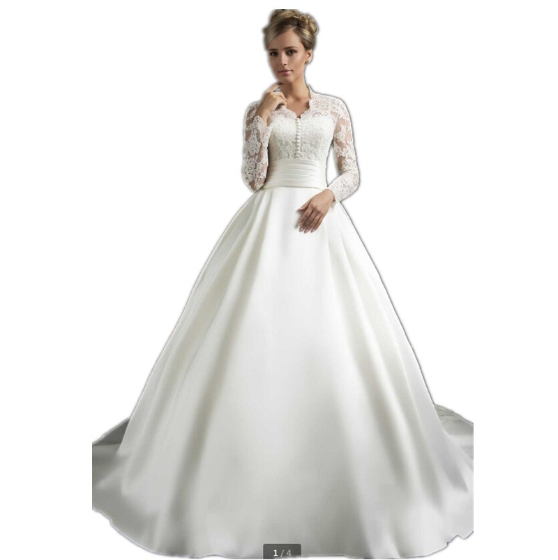 fab0ee4f4d Get Quotations · Noble Elegant ball gown Long sleeve V-Neck Satin Bridal  Gown Lace Bridal Wedding Gown