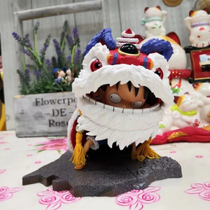 Factory Action Figure One Piece New Year Lion Dance Monkey D. Luffy Boxed Figure Decoration 16CM
