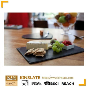 [Factory Direct] Popular Black Serving Dishes Natural Slate Stone Cheese Plate Kitchen Plate for Your Selection