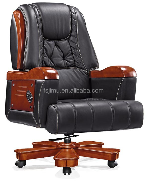 elegant genuine leather wooden executive chair,director office