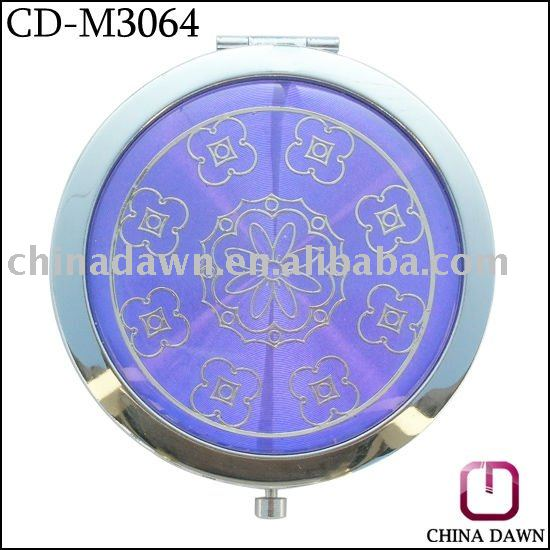 promotion gift metal folding mirror compact flower CD-M3064
