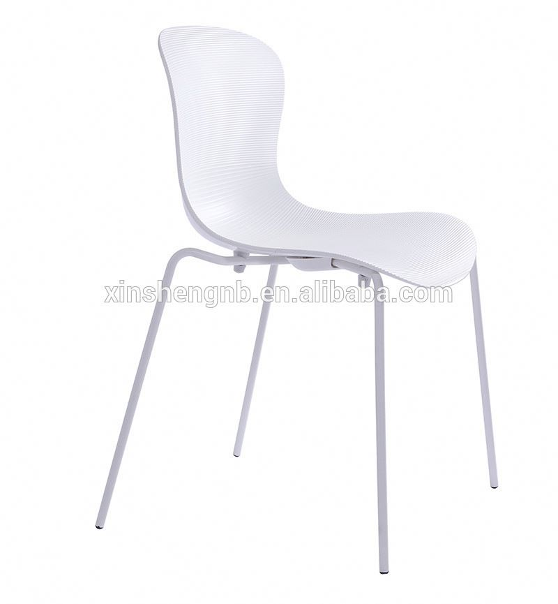 CIFF wholesale PP plastic dining chair with metal legs
