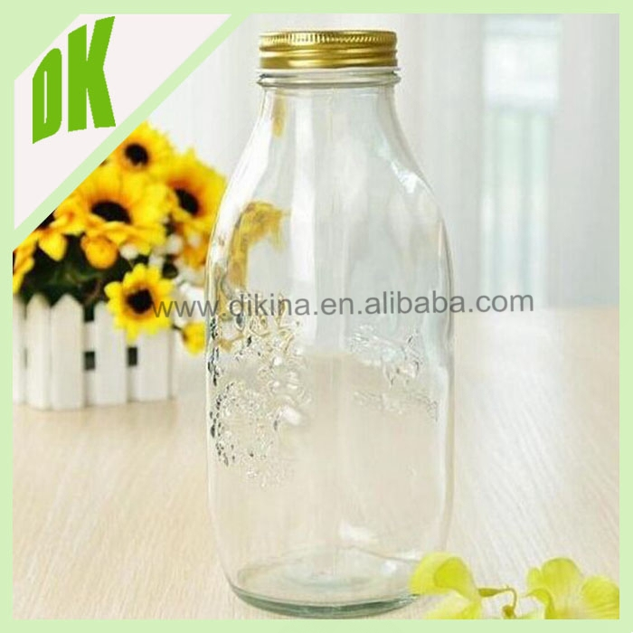 Glass milk bottle manufacturer>>>wholesales with cap empty clear olive oil 1L glass bottle