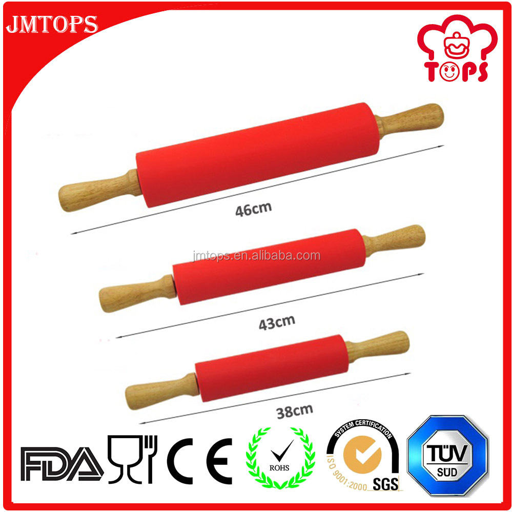 Bakeware Accessories Pastry Tools Silicone Rolling Pin with Wooden Handle; Silicone Wooden Rolling Pin