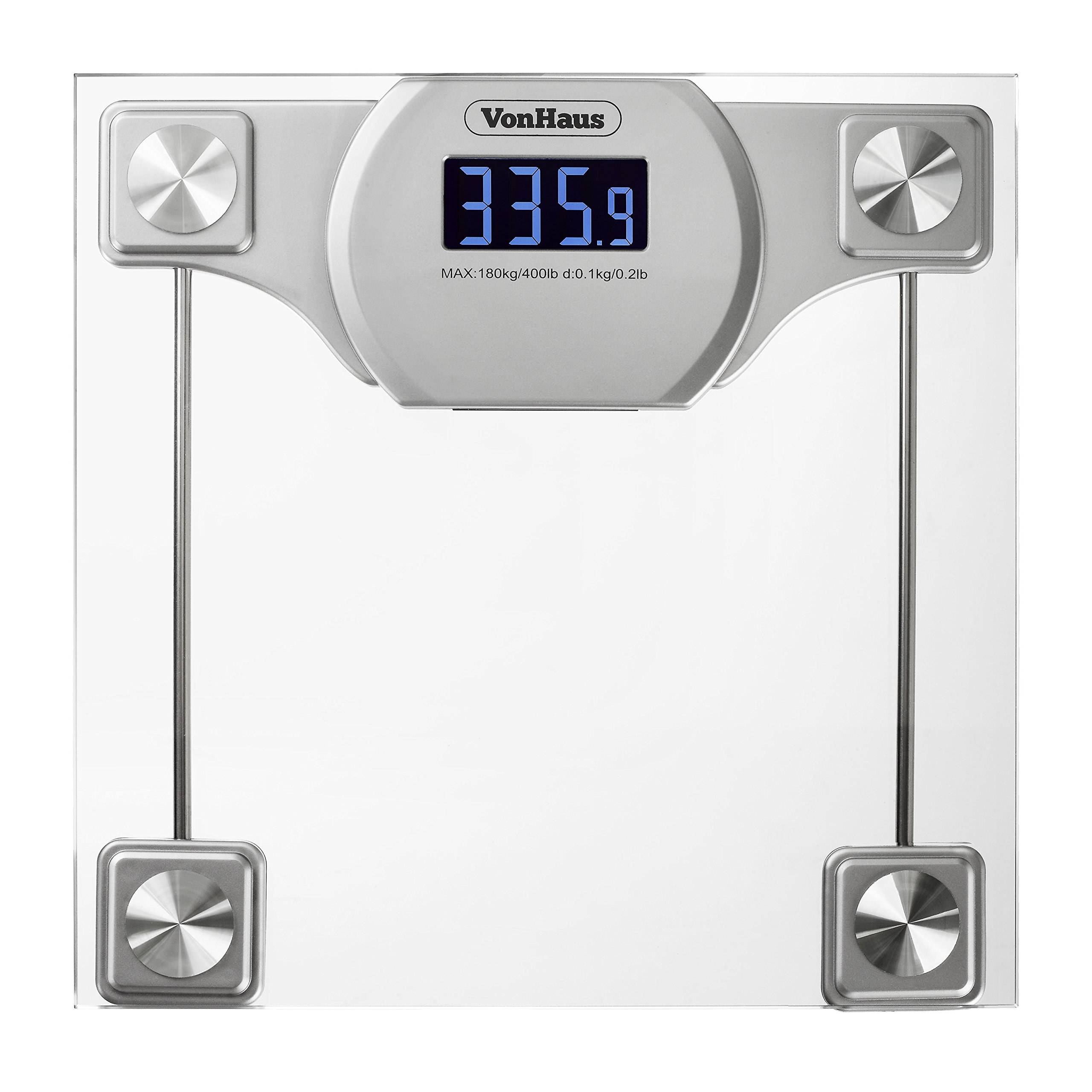 Get Quotations Vonhaus Digital Bathroom Scale Gl Silver Body Weight Scales With Large Lcd Display