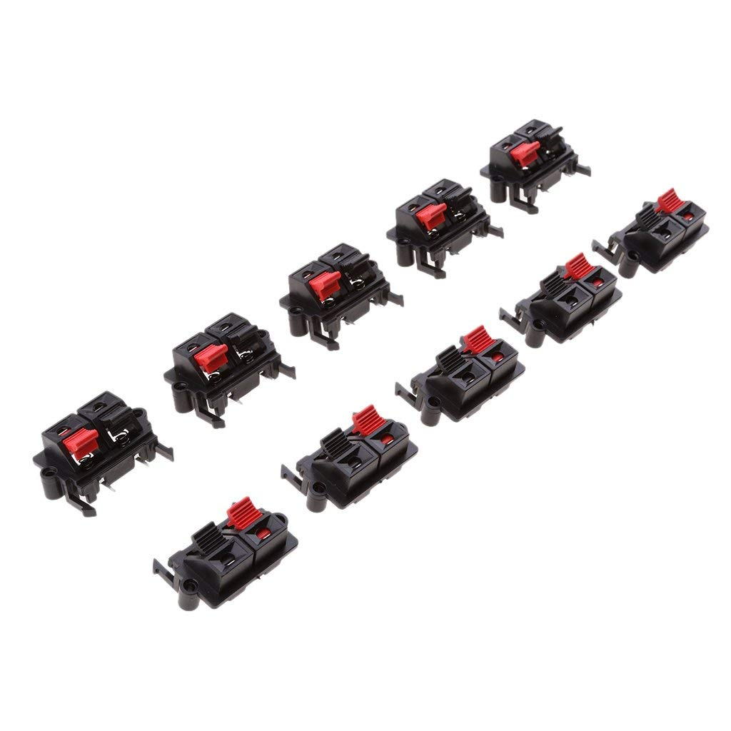 Jili Online 10pcs 2 Jack Spring Clip Audio Speaker Terminals Mini, Push Release Connector Plate Stereo Speaker Terminal Strip Block Audio Clamp